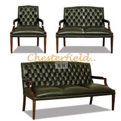 King 321 Antikgruen Chesterfield Garnitur