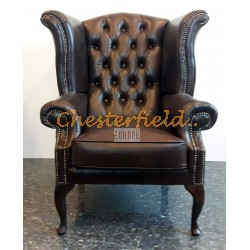 Queen Antikbraun (A5) Chesterfield Ohrensessel