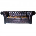 Windchester Antikbraun 3-Sitzer Chesterfield Sofa