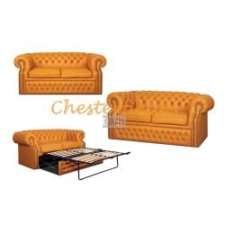 Windsor Orange 3er Chesterfield Schlafsofa
